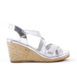 Sandale argent à élastique avec talon compensé