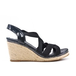 Black elastic sandal with wedge heel