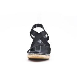 Sandale noire à élastique avec talon compensé