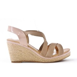 Sandale rose à élastique avec talon compensé