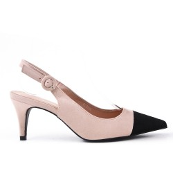Two-tone heeled pump