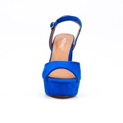 Blue faux suede sandal with platform