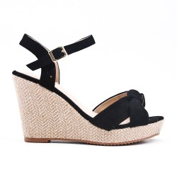 Black sandal with wedge heel