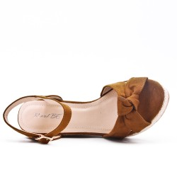 Camel sandal with wedge heel
