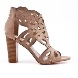 Beige faux suede sandals