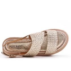 Sandale dorée à semelle confort