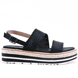 Sandale noire à semelle confort