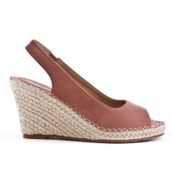 Pink Wedge sandal with espadrille sole