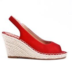 Sandale compensée rouge à semelle espadrille