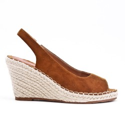 Camel Wedge sandal with espadrille sole