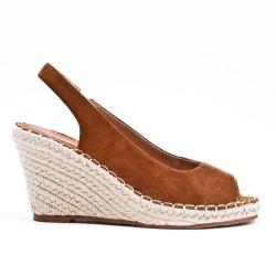 Sandale compensée camel à semelle espadrille