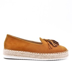 Camel glitter espadrille with pompom