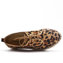 Leopard espadrille in perforated faux suede