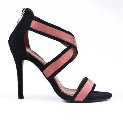 Sandale rose en simili daim à talon aiguille