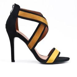 Sandale jaune en simili daim à talon aiguille