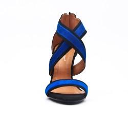 Sandale bleu en simili daim à talon aiguille