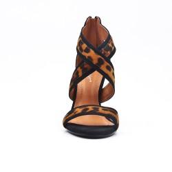 Sandale léopard en simili daim à talon aiguille