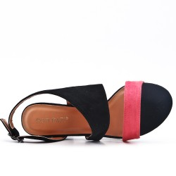 Two tone sandal in faux suede with heel