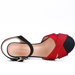 Red sandal in faux suede