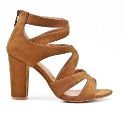 Sandale camel à talon avec fermeture zippé
