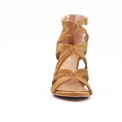 Camel sandal with heel and zipper