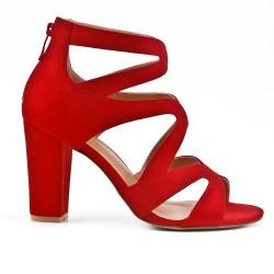 Sandale rouge à talon avec fermeture zippé