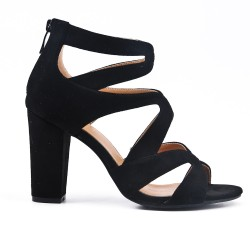 Black sandal with heel and zipper