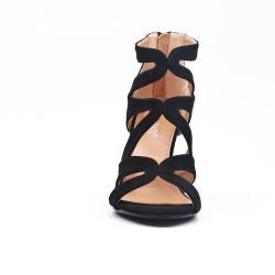 Sandale noire à talon avec fermeture zippé