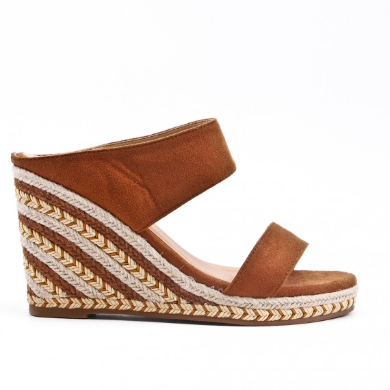 Camel mule sandal with wedge heel