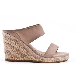 Beige mule sandal with wedge heel