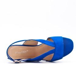 Sandale bleu en simili daim