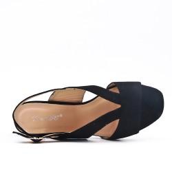 Sandale noire en simili daim