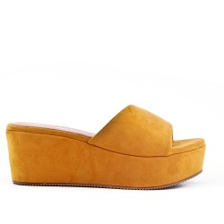 Yellow faux suede mule with platform