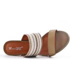 Sandale mule beige à talon