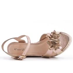 Sandale dorée compensée à fleur