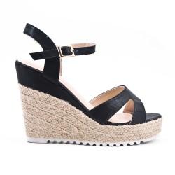 Sandale noire compensée