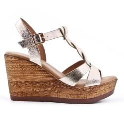 Sandale dorée compensée