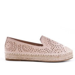 Pink espadrille in perforated faux suede
