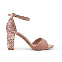 Pink pumps with sequined heels