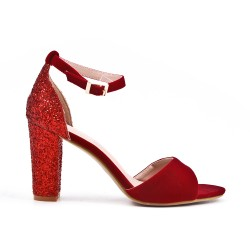 Red pumps with sequined heels