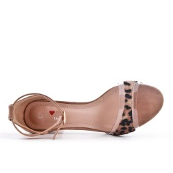 Leopard sandal with heel