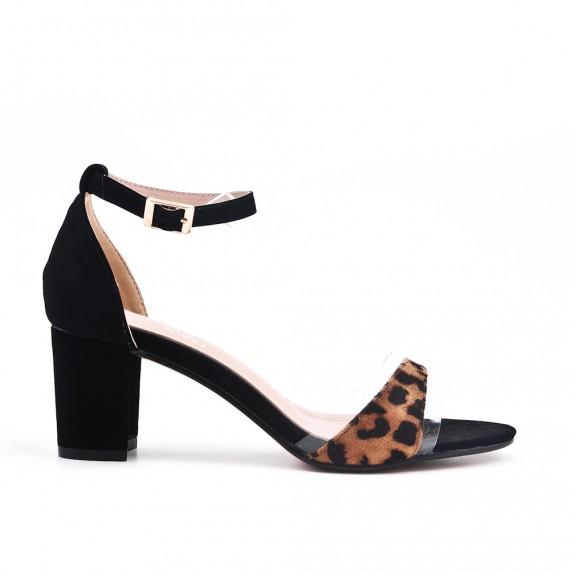 vente professionnelle très convoité gamme de pas mal Leopard sandal with heel - ASTRÉYEE