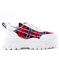 White basket with plaid pattern