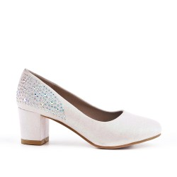 White pump with rhinestones for girls