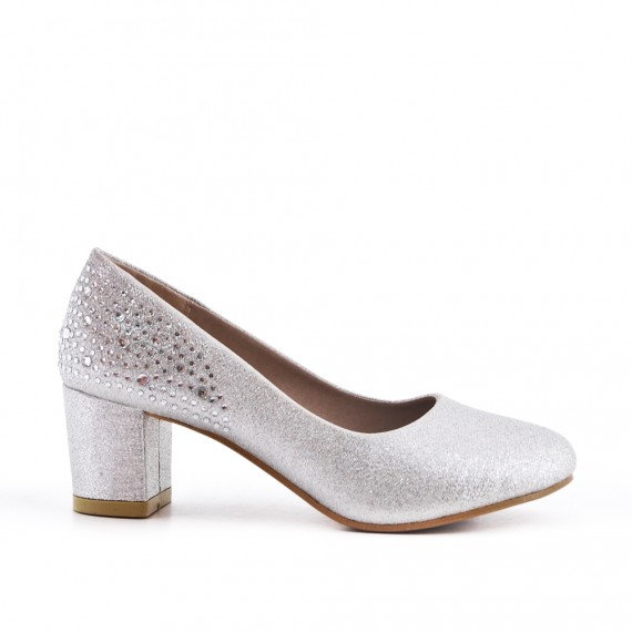 Silver pump with rhinestones for girls