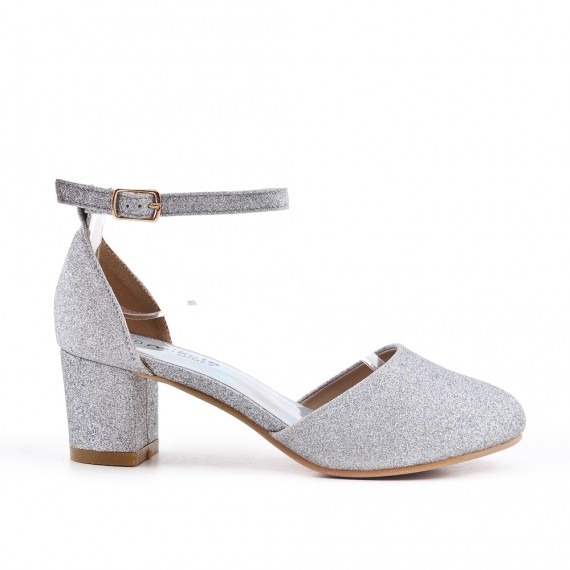 Silver sequined pump for girls