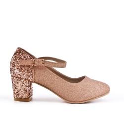 Zapatillas champagne con tacones de lentejuelas para niña
