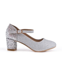 Silver pumps with sequined heels for girls