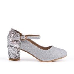 Zapatillas plata con tacones de lentejuelas para niña