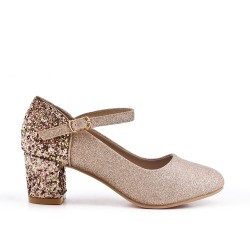 Golden pumps with sequined heels for girls